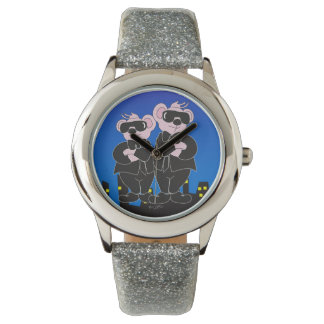 BEARS IN BLACK CARTOON Silver Glitter Watches
