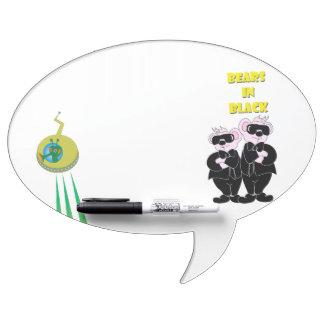 BEARS IN BLACK  Oval Speech Bubble w/ Pen erase B Dry Erase Board