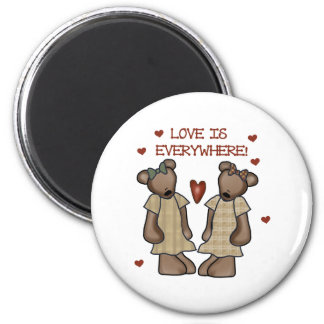 Bears Love is Everywhere 6 Cm Round Magnet