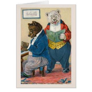 """""""Bears Making Music"""" Vintage Greeting Card"""