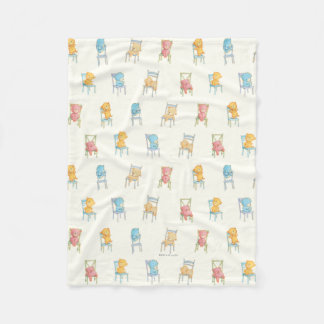 Bears On Chairs Pattern Fleece Blanket