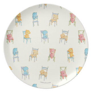 Bears On Chairs Pattern Party Plates