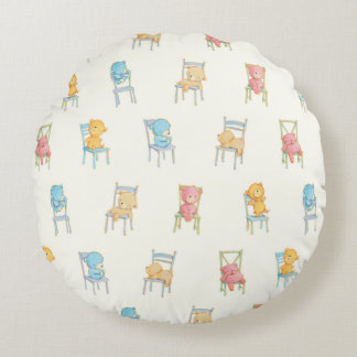 Bears On Chairs Pattern Round Cushion