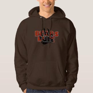 Bears Rule Brown on Black Paw HOT LOOKING Hoodie