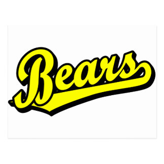 Bears script logo in yellow postcards