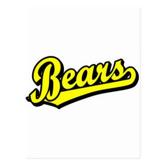 Bears script logo in yellow postcard