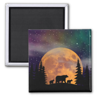 Bears stroll - Silhouette Square Magnet