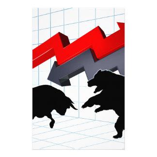 Bears Versus Bulls Stock Market Concept Custom Stationery