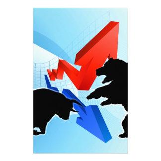 Bears Versus Bulls Stock Market Concept Customised Stationery