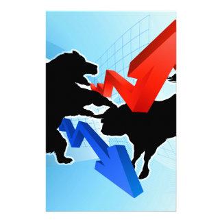 Bears Versus Bulls Stock Market Concept Customized Stationery