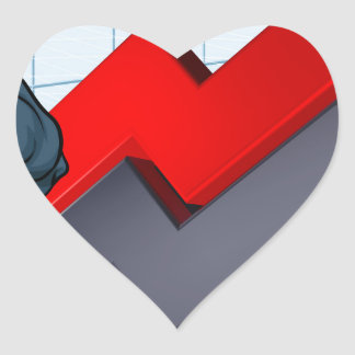 Bears Versus Bulls Stock Market Concept Heart Sticker