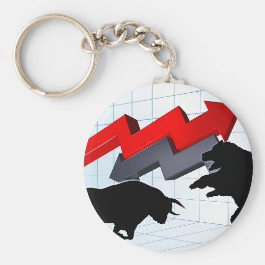 Bears Versus Bulls Stock Market Concept Key Ring
