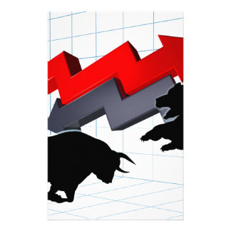 Bears Versus Bulls Stock Market Concept Stationery