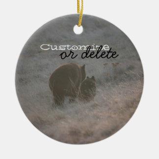 Bears Walking at Sunset; Customizable Christmas Ornament