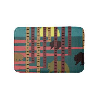 Bears walking in the woods bath mat