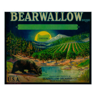 Bearwallow Apple Crate LabelHood River, OR Poster