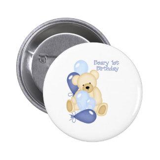 Beary 1st BIrthday (BOY) 6 Cm Round Badge