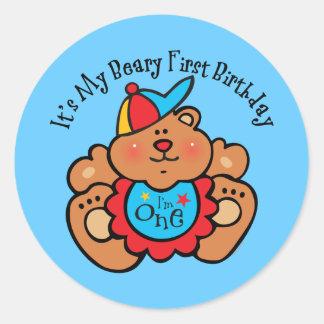 Beary 1st Birthday Boy Classic Round Sticker