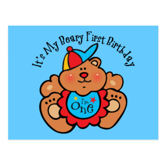 Beary 1st Birthday Boy Postcard