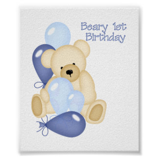 Beary 1st BIrthday (BOY) Poster