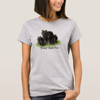 Beary Best Mom, Watercolor Black Bear Family T-Shirt