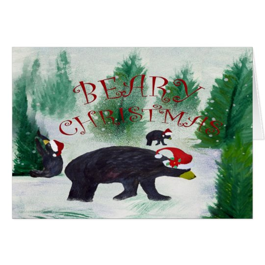 Beary Black Bear Christmas greeting card