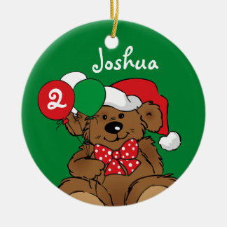 Beary Christmas Birthday Personalized Ornament