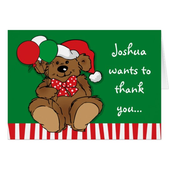 Beary Christmas Birthday Thank You Note Card