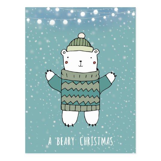beary christmas holiday polar bear card