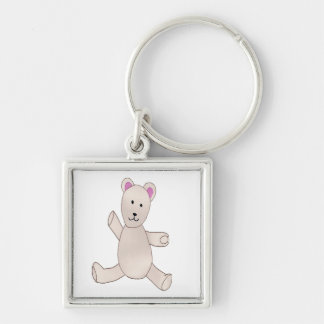 Beary Cute Teddy Bear Silver-Colored Square Key Ring