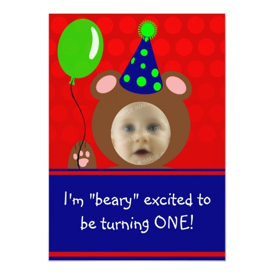 Beary Excited Bear Face Photo Birthday Party Card