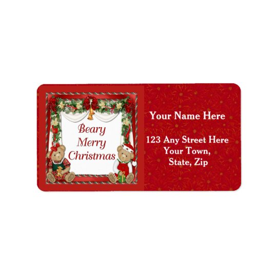 Beary Merry Christmas Address Label