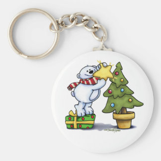 Beary Merry Christmas Basic Round Button Key Ring
