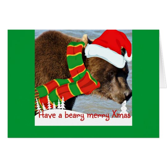 Beary Merry Santa Bear Holiday Greeting Card