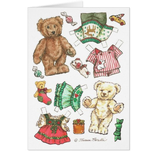 Beary Merry Teddy Bear Paper Doll Christmas Card