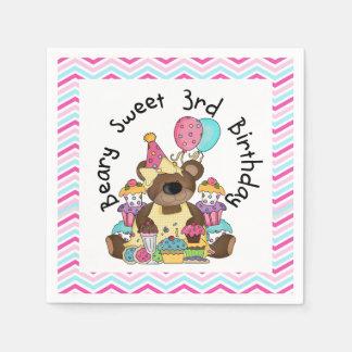 Beary Sweet 3rd Birthday Paper Napkins