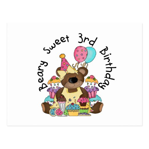 Beary Sweet 3rd Birthday Tshirts and Gifts Postcards