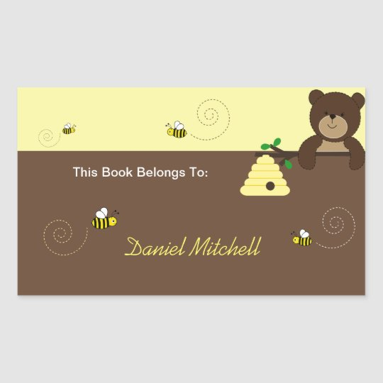 Beary Sweet Bear & Bee Custom Book Plate