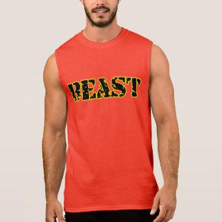 Beast Men's Ultra Sleeveless Red Gym T-Shirt Yello