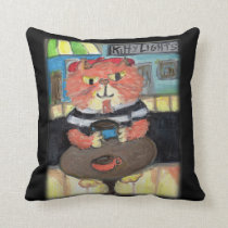 Beat Poet Folk Art Cat Cushion