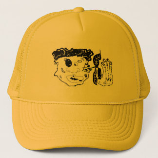beat up graphic art trucker hat