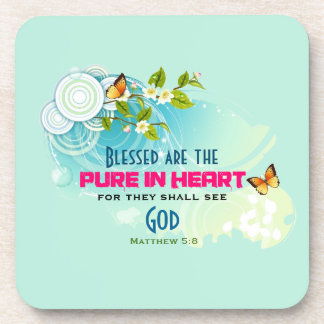 Beatitude Quote with Butterflies and Blossoms Drink Coaster