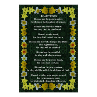 Beatitudes in a Daffodil Frame Poster