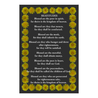 Beatitudes in an Dandelion Frame Poster