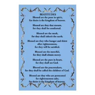 Beatitudes in Flying Seagull Border Poster