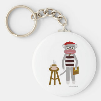 Beatnik Sock Monkey Basic Round Button Key Ring