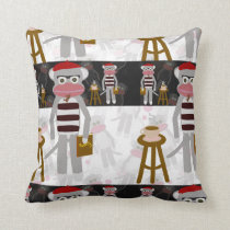 Beatnik Sock Monkey Poetry Party Cushion