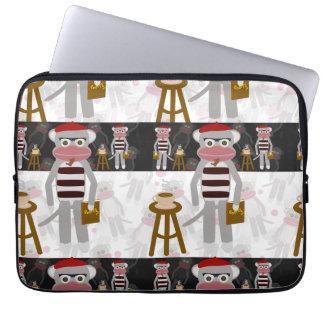 Beatnik Sock Monkey Striped Pattern Laptop Sleeves