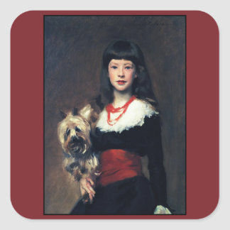 Beatrice Townsend w/Dog 1882 ~ Realism Square Sticker