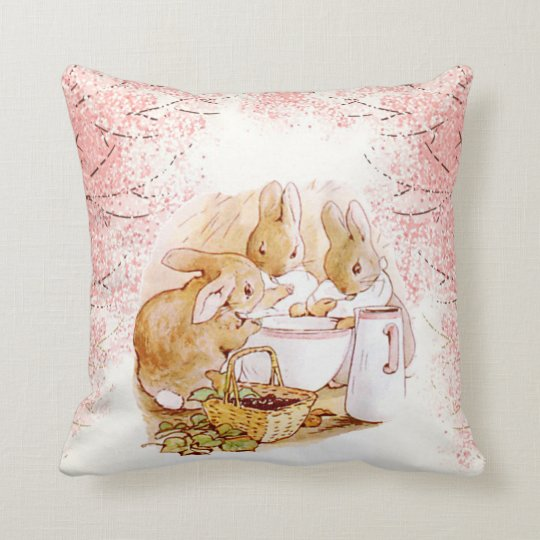 Beatrix Potter Bunnies, Baby Shower, Custom Cushion